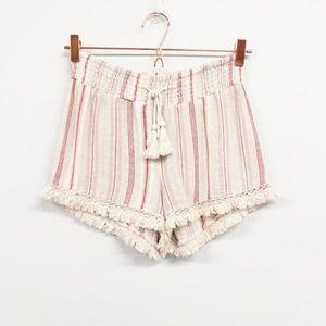 Vanilla Star Pink Striped Tassel Fringe Shorts - S